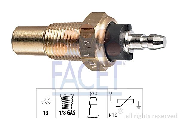 FACET Sensor, brandstoftemperatuur Made in Italy - OE Equivalent (7.3327)