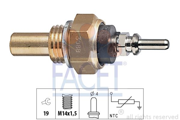FACET Sensor, brandstoftemperatuur Made in Italy - OE Equivalent (7.3356)