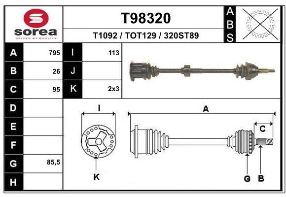 EAI Aandrijfas, asaandrijving (TL10012)